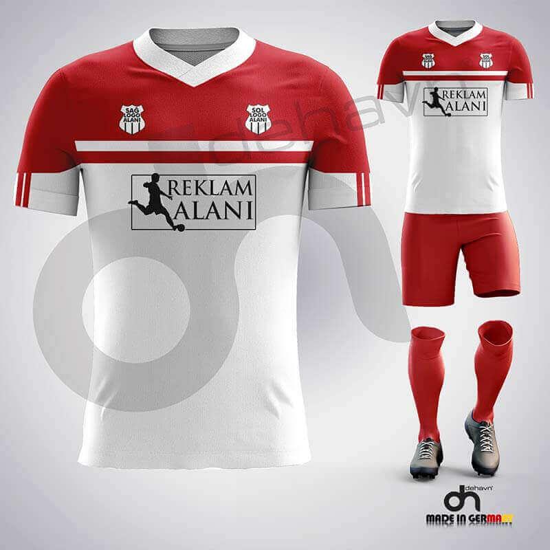 Zed Beyaz-Kırmızı Dijital Halı Saha Forma